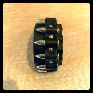Jewelry - Black leather cuff with bullet detail